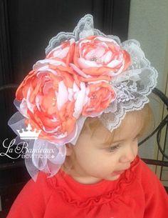 Peach and White Baby Headband Newborn Photo by LaBandeauxBowtique, $15.00