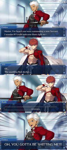 Archer Funny, Destiny Comic, Fate Archer, Archer Emiya, Shirou Emiya, Anime Stories, Fate Stay Night Anime, Funny Memes, Jokes