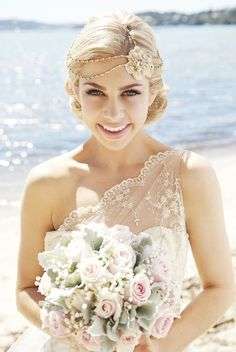 Love this bride's look! // Headpiece by Viktoria Novak, Gown by Vellos Bridal, Photography by Christoper Perkins.