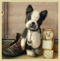 By Simone Marthaler Plush Animals, Animals And Pets, Stuffed Animals, Boston Terrier Love, Boston Terriers, Plaid Dog Collars, Handmade Soft Toys, Vintage Teddy Bears, Cute Toys