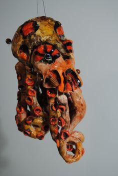 handmade ceramic octopus windchime