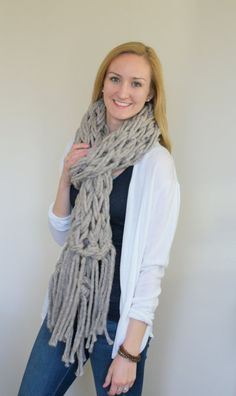 Chunky knit oatmeal infinity scarf with fringe. Chunky knit is trending for Fall 2015, and this is a great neutral way to wear it. See this and more at sparklytwig.etsy.com