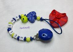 Schnullerkette Herz Wunschname Baby Name md286 von myduttel auf DaWanda.com