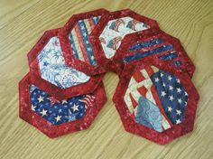 Quilted Coaster Reversible  Americana Patriotic by QuiltinWaYnE, $13.50