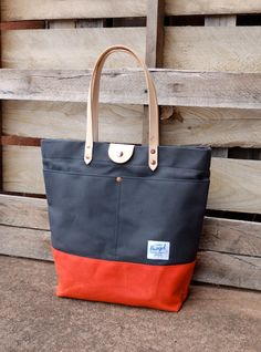 Waxed Canvas Tote Bag with Leather Handles and Snap Closure - Large Charcoal Gray & Orange Color Blocked Tote Perfect for Everyday or Travel...