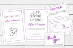 Simple Wedding Invitation Set (includes Save the Date, Invitation, RSVP and Thank You card)
