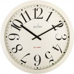 Butterfield Xl Retro Wall Clock - Stunning Cream Wall Clock, Perfect For A Kitchen - Cream Wall Clocks, Outdoor Clock, Cream Walls, Large Clock, Living Room Sofa, Picture Walls, Leather Sofa, Retro, Objects