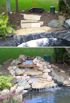DIY Garden Waterfalls • Ideas  Tutorials! Including this nice diy waterfall project from 'passion for ponds'.