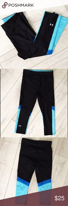 Under Armour Black Blue Compression Crop Pants Excellent condition, like new. Black crop Capri athletic workout compression pants with blue design by Under Armour. Under Armour Pants