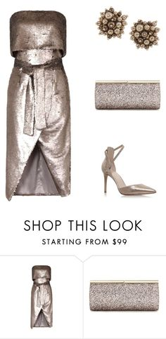 """""""Alice Silver Reverse Sequin Bandeau Dress"""" by simpleelegance-558 ❤ liked on Polyvore featuring Lavish Alice, Nine West, Jimmy Choo and Carolee"""
