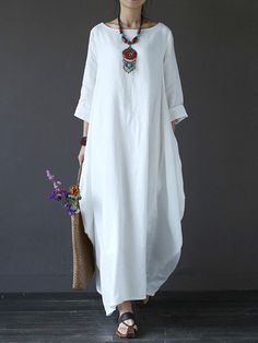 Cheap Dresses, Buy Directly from China Suppliers:[IASK] 2018 Summer Plus Size Dresses Women Loose Cotton Linen Dress O-neck White Boho Shirt Dress Long Sleeve Maxi Robe White Maxi Dresses, Plus Size Dresses, Casual Dresses, Long Sleeve Shirt Dress, Maxi Dress With Sleeves, Bat Sleeve, Long White Dress Boho, Dress Long, Long Dresses