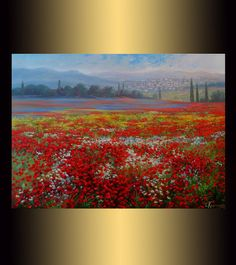 "Landscape with poppies, 24"" x 32 Medium Original Oil  Handmade Painting on Canvas, Art, Flower, wall art, Fine art, original artwork, nature by OliviaArtGallery on Etsy"