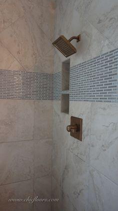 Hutcherson porcelain tile, style HT2184. @MS International Highland Park mosaic, Dove Gray Brick Pattern.