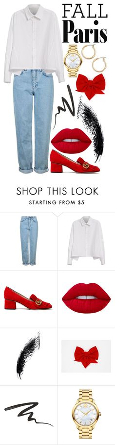 """""""Paris in Fall"""" by angelxalice ❤ liked on Polyvore featuring Topshop, Y's by Yohji Yamamoto, Gucci, Lime Crime, Anna Sui, Movado and Nordstrom"""