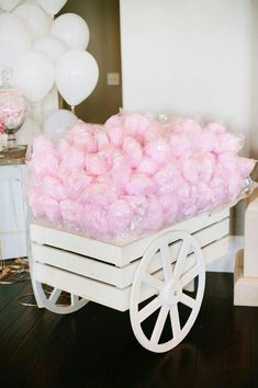 Today we're going to share with you who runs a candy table for a children's party.If you are planning to celebrate your child's birthday soon, take into Anniversaire Candy Land, Cadeau Baby Shower, Baby Shower Candy Table, Cotton Candy Party, Cotton Candy Favors, Cotton Candy Wedding, Girl Birthday, Birthday Parties, Candy Cart