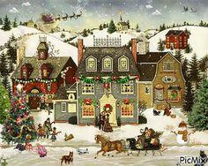 Illustration Noel, Winter Illustration, Christmas Illustration, Illustrations, Christmas Scenes, Christmas Pictures, Christmas Art, Primitive Painting, Primitive Folk Art