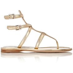 Prada Women's Triple-Strap Gladiator Sandals ($259) ❤ liked on Polyvore featuring shoes, sandals, flat sandals, gold, gold strap sandals, flat pumps, gold sandals, pink flat sandals and gladiator sandals