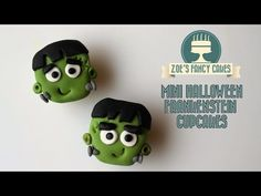 Mini Halloween Frankenstein cupcakes How To Cake Tutorial treats ideas - YouTube