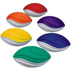 S Worldwide Spectrum Spiral Foam Football Set, Set of 6, Multicolor