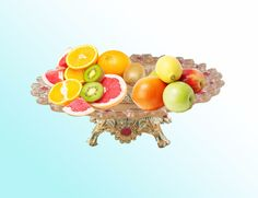 2016 Hot Crystal Fruit Plates Stand Pastry Tray Candy Dishes Cake Desserts Gold Color Party Home Decoration,High Quality Product