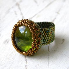 Statement ring bold ring bronze ana olive glass by Anabel27shop