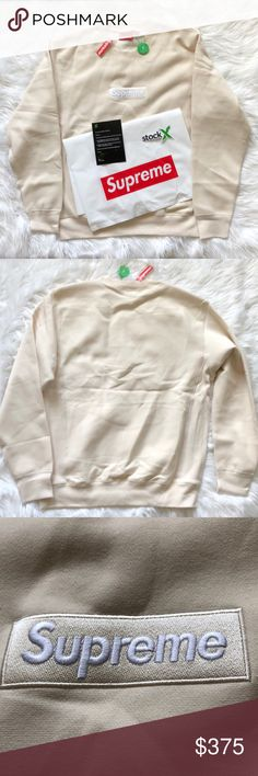 900155a8 NWT Supreme Box Logo Crewneck (FW18) Natural XL 100% authentic, StockX After