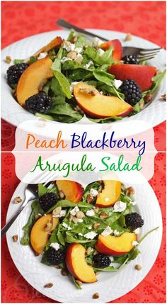 Peach Blackberry Arugula Salad | Jeanette's Healthy Living