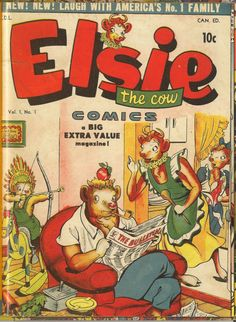 Elsie the Cow, Elmer and the kids.  Great art!