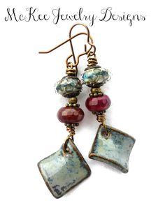 Greys. Lampwork Glass, ceramic charms, metal wire wrapped and stone earrings.