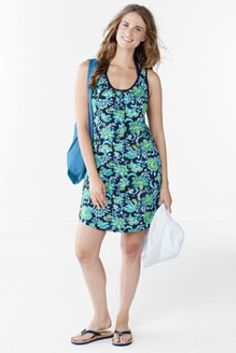 Women's Cotton Jersey Cover-up - Larimar Floral from Lands' End
