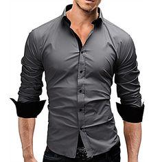Men's Casual/Work/Formal/Plus Sizes Striped/Pure Long Sleeve Regular Shirt (Cotton) 2016 - $9.99