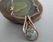 Handmade chainmaille on arch copper necklace with black rutilated quartz briolette stone - Cascade necklace - Gemstone necklace