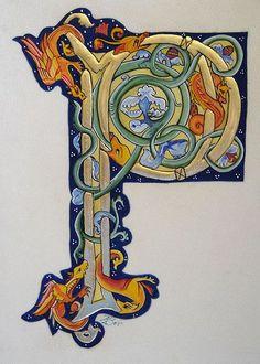 Illuminated Manuscript Font Enluminure lettrine P Medieval Manuscript, Medieval Art, Renaissance Art, Illuminated Letters, Illuminated Manuscript, Letra Drop Cap, Illumination Art, Book Of Kells, Celtic Art