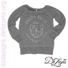 Delta Zeta vintage seal sorority sweatshirt now available at DZ DeZigns!