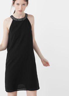 Beaded collar dress | MANGO