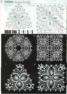 "Photo from album ""Дуплет on Crochet Motif Patterns, Bobbin Lace Patterns, Crochet Diagram, Crochet Chart, Filet Crochet, Diy Crochet, Crochet Designs, Crochet Ideas, Crochet Bedspread"