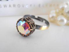 Art Deco, Swarovski Crystal Ring, Aurora Borealis, Stackable Ring, Bridal, Wedding, Vintage, Antique Bronze Filigree Setting #VintageRings #SwarovskiRings #BridalRings #SolitaireRings #CrystalRings #AntiqueBronzeRings #FiligreeRing #StackableRings #ArtDecoRing #10mmRings Bridal Rings, Wedding Rings, Big Finger, Swarovski Crystal Rings, Bronze, Filigree Ring, Stackable Rings, Aurora Borealis, Antique Brass