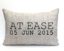at ease pillow, phrase pillow, military retirement gift, military gift, army… Military Retirement Parties, Military Party, Army Party, Retirement Gifts, Retirement Ideas, Retirement Invitations, Retirement Celebration, Army Gifts, Military Gifts