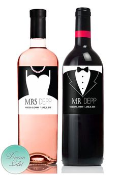 Custom set of wine labels for bride and groom!  Purchase your favorite bottles of wine and place these personalized labels on each bottle.  Should