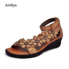 timeless design 407ba f6b38 88.97  Artdiya 2019 sandalias de mujer de cuero genuino vintage hecho a  mano de las mujeres, zapatos de Punta abierta cuñas cómodas sandalias 3228 8  en ...