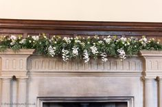 A stunning mantlepiece design with cascading white Orchids in the ceremony hall at North Cadbury Court. An elegant Wilde Bunch design in 'wedding' whites. Floral Wedding, Wedding Flowers, Wedding Aisles, Country House Wedding Venues, London Bride, White Orchids, Altars, Arches, Elegant