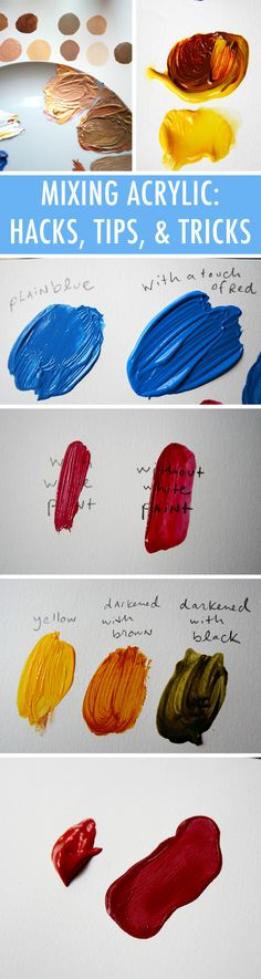 11 Hacks for Mixing Acrylic Paint Perfectly Think you know all there is to know about mixing paint? We bet you'll learn something new from Jessie Oleson Moore.One of the most important parts of creating an acrylic painting takes place before you even put Painting & Drawing, Acrylic Painting Techniques, Art Techniques, Diy Painting, Acrylic Tips, Beginner Painting, Drawing Tips, Painting Hacks, Acrylic Colors