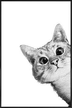 Sneaky Cat als Poster in kunststof lijst door Laura Graves | JUNIQE