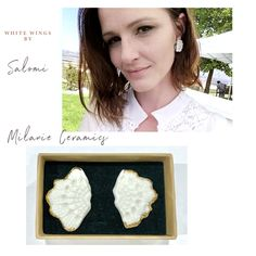 Handmade Porcelain Jewellery with 18 carat gold and sterling silver. White Wings, Ceramic Studio, Porcelain Jewelry, Confident Woman, Carat Gold, White Shop, White Lace, Crochet Necklace, Dangles