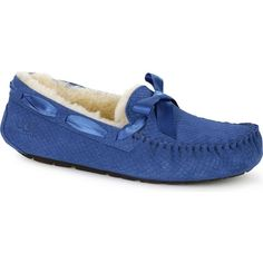 UGG Australia Women's Dakota Exotic Scales Marine Blue Slippers ($100) ❤ liked on Polyvore featuring shoes, slippers and blue