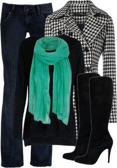 2. Baskets negras, pantalón azul, suéter negro o blanco? complemento color, bolso?
