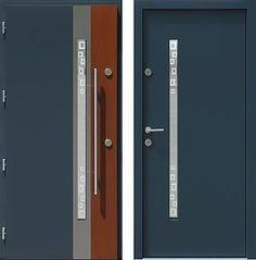 Drzwi wejściowe z aplikacjami inox model 454,2-454,12+ds1 w kolorze ral 7016