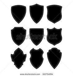 Football badge logo template collection designsoccer teamvector black and white shield silhouette maxwellsz