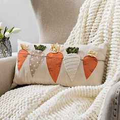 unique home accents Carrots Throw Pillow cute boho pillows throw farmhouse pillows amp; Sewing Pillows, Diy Pillows, Boho Pillows, Decorative Pillows, Throw Pillows, Cushions, Pillow Ideas, Easter Projects, Easter Crafts