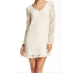 """NWT cream lace long sleeve shift dress This floral embroidered net dress gets a retro makeover courtesy of bell sleeves. - V-neck - Long sleeves - Lined - Approx. 33"""" length - Imported Fiber Content: Self: 80% cotton, 20% nylon Lining: 100% polyester Nordstrom Dresses Long Sleeve"""
